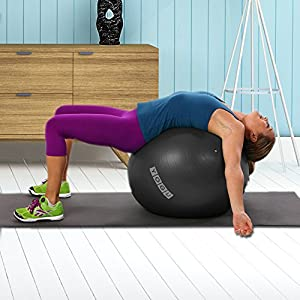 Yogu Stability Exercise Ball 65cm Balance Ball Birthing Ball with Air Pump Anti-Slip & Anti-Burst Supports 2000lbs Great for Yoga Pilates Abdominal Workout Fitness Ball and Office Chair by Yogu