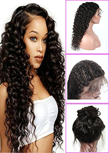 Younsolo Deep Wave Lace Front Wigs Glueless Brazilian Virgin Human Hair Wigs Pre Plucked Natural with Baby Hair for Black Women 22 inch Lace Front Wig ()
