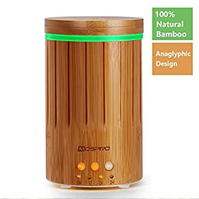 MOSPRO Real Bamboo Essential Oil Diffuser, Ultrasonic Aromatherapy Diffusers with 7 LED Lights and Waterless Auto Shut-off