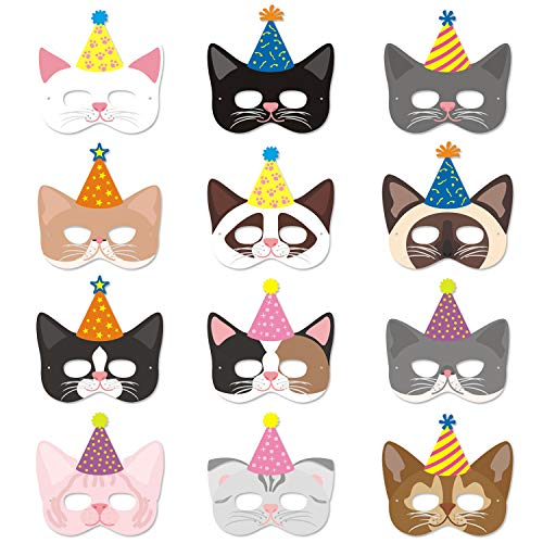 Cat Masks with Party Hats Halloween Kitten Masks for Kitty Cat Birthday Party Kids Costumes Dress-Up Party Supplies(12 Pieces)]()