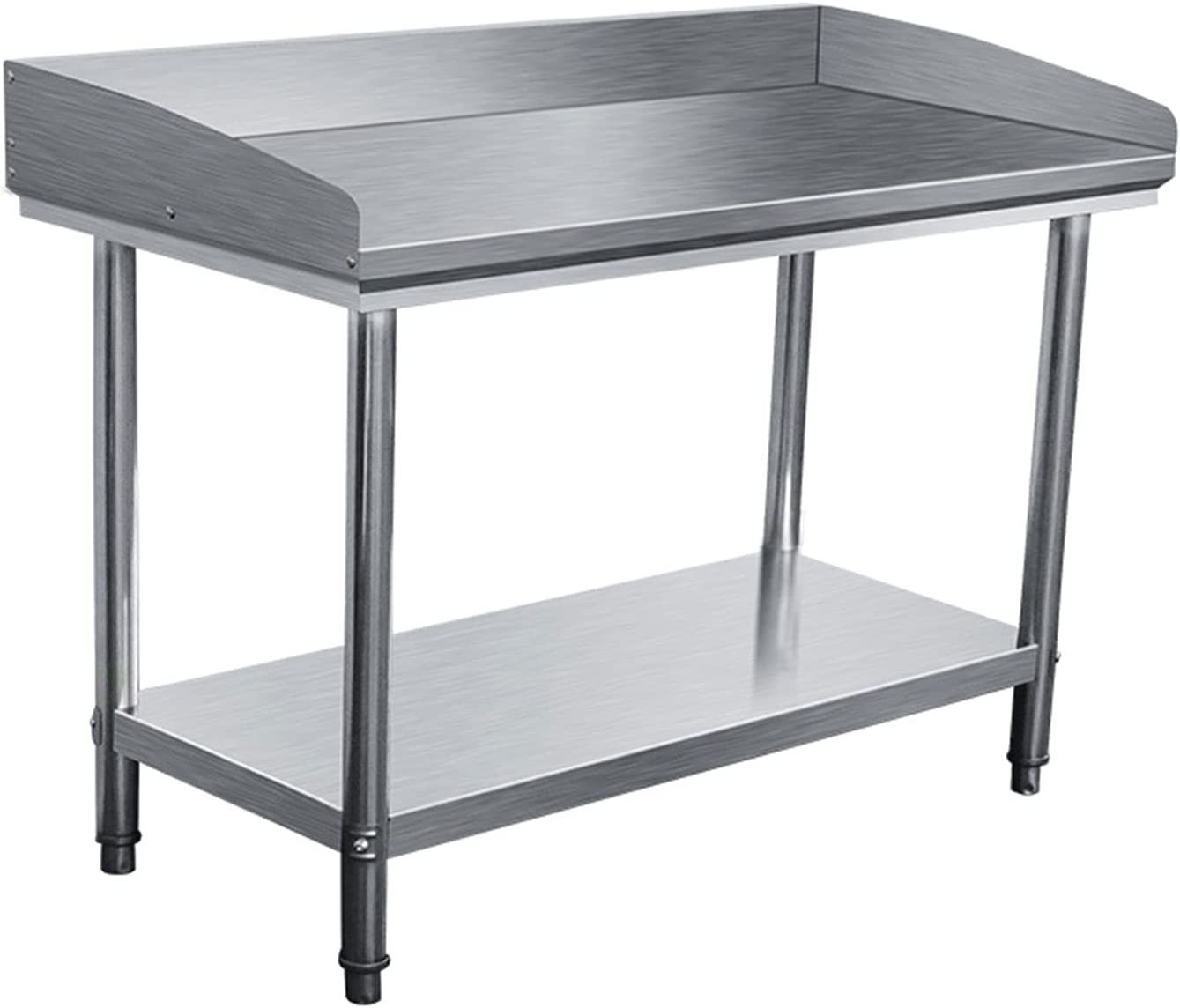 DUTUI Stainless Steel Table for Preparation and Work, Commercial Heavy-Duty Table with Base Frame for Restaurants Homes and Hotels