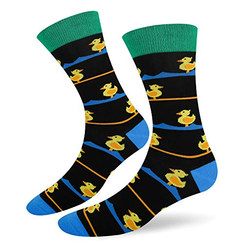 Funny Dress Socks Cute Animal Design Socks Black Crew Yellow Duck with Stripes Casual Cotton Socks for Women Men