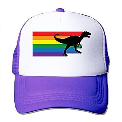 Rainbow Dinosaur Adjustable Snapback Baseball Cap Custom Mesh Trucker Hat from Huishe1