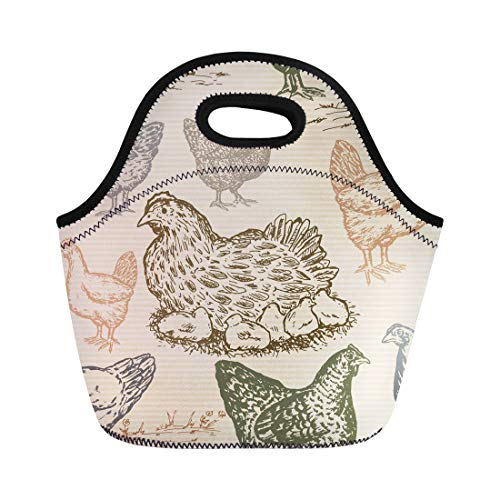 Semtomn Neoprene Lunch Tote Bag Animals Chicken Farm in Vintage Packaging Products Eggs Agriculture Reusable Cooler Bags Insulated Thermal Picnic Handbag for Travel,School,Outdoors, Work
