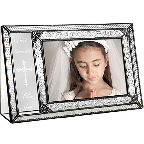 - J Devlin Pic 393-46H EP581 Personalized First Communion Picture Frame Engraved Glass 4x6 Photo Frame Religious Keepsake Gift