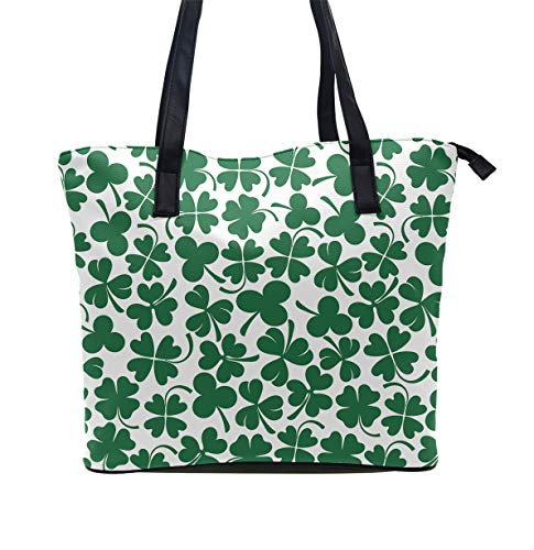 Daily Tote with Shoulder Length Handles and Outside Pocket (Lucky Clover Shamrock)