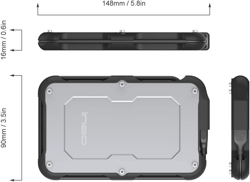 T2580 ineo 2.5 inch USB 3.0 Type A Rugged Waterproof /& Shockproof External Hard Drive Enclosure for 2.5 inch 9.5mm /& 7mm SATA HDD SSD USB 3.0 Type A