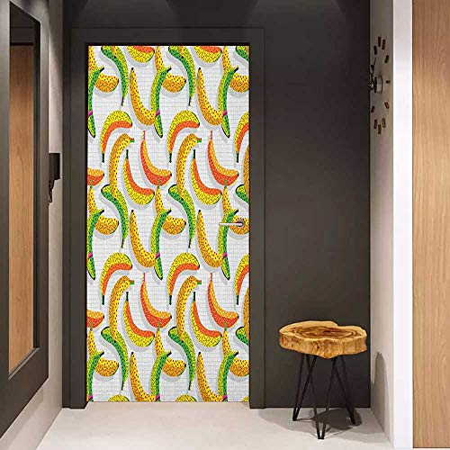 Door Sticker Fruits Retro Pop Art Trippy Banana Fractal Minimalist 80s Geometric Abstract Glass Film for Home Office W38.5 x H79 Earth Yellow Pearl Green
