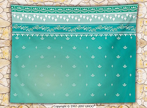 Teal Decor Fleece Throw Blanket Indian Sari Pattern Asian Traditional Clothing Fabric Design Style Classic Illustration Throw Teal Green