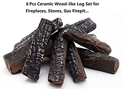 Large Gas Fireplace Logs 8 Piece Set of Ceramic Wood Logs. All Types of Indoor, Gas Inserts, Ventless & Vent Free, Electric, or Outdoor Fireplaces & Fire Pits. Realistic Clean Burning Accessories