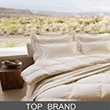 Goose Down Comforter Twin - Luxury Goose Filled Down Feather Comforter Duvet Insert - 1000TC 100% Cotton Shell Soft 500-600 High Fill Power for All Season Bedding, 68x86 Light Tan