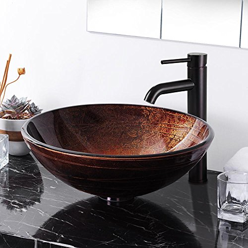(Aquaterior Tempered Glass Vessel Sink Bathroom Lavatory Round Bowl Pattern)