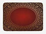Lunarable Maroon Bath Mat, Vintage Frame with Gold Colored Eastern Motifs Traditional Retro Classic Artwork, Plush Bathroom Decor Mat with Non Slip Backing, 29.5 W X 17.5 W Inches, Maroon Gold