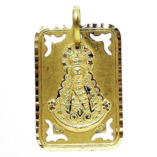 Pendentif 18k médaille d'or Virgen del Rocio [642GR] - personnalisable - ENREGISTREMENT inclus dans le prix