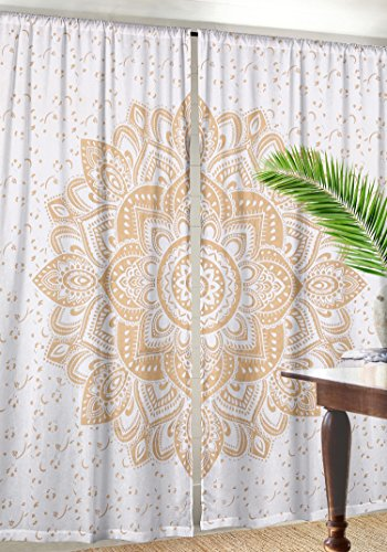 Indian Cotton Gold Ombre Mandala Window Door Cover Curtain Hanging Drape Portiere