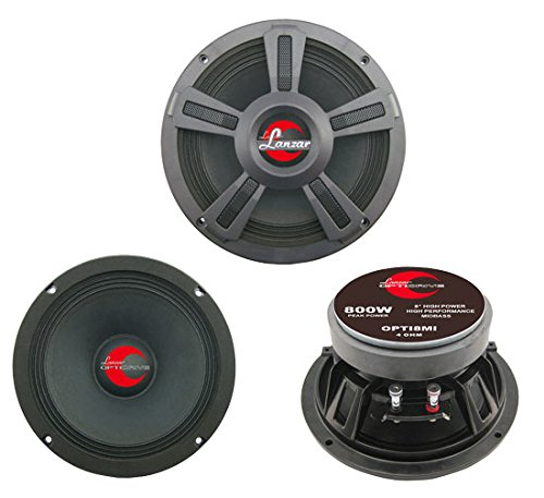 "Upgraded 8"" High Power MidBass Speakers- Powerful 800 Watt Peak 90Hz – 10 kHz Frequency Response 39 Oz Magnet Structure 3 Ohm w/ Paper Cone and Cloth Surround Full Range Speaker - Lanzar OPTI8MI - Peak Pa Speaker"
