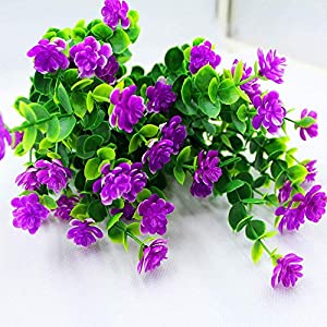 MARJON Flowers6Pcs Artificial Flowers Fake Outdoor UV Resistant Plants Faux Plastic Greenery Shrubs Bushes Indoor Outside Hanging Planter Home Garden Window Box Patio Yard Office Wedding Decor Flower 2
