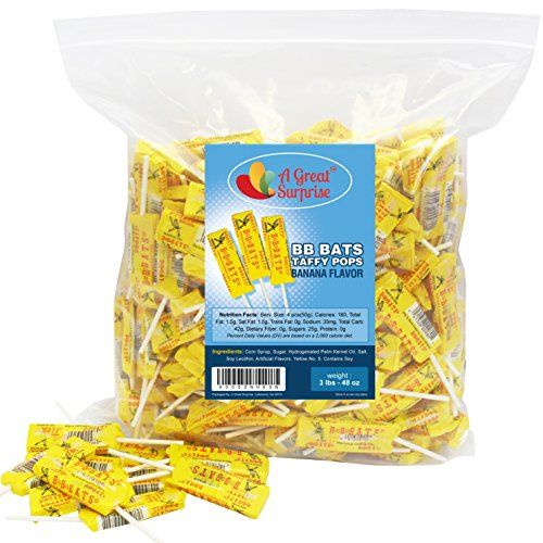 BB Bats Candy Taffy Suckers - Banana Flavored Pops - Bulk Candy, 3 LB Party Bag, Family Size