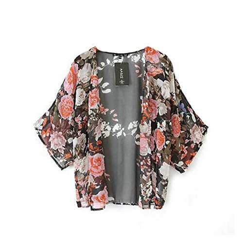 Women Floral Printed Vintage Elegant Kimono Cardigan - 5