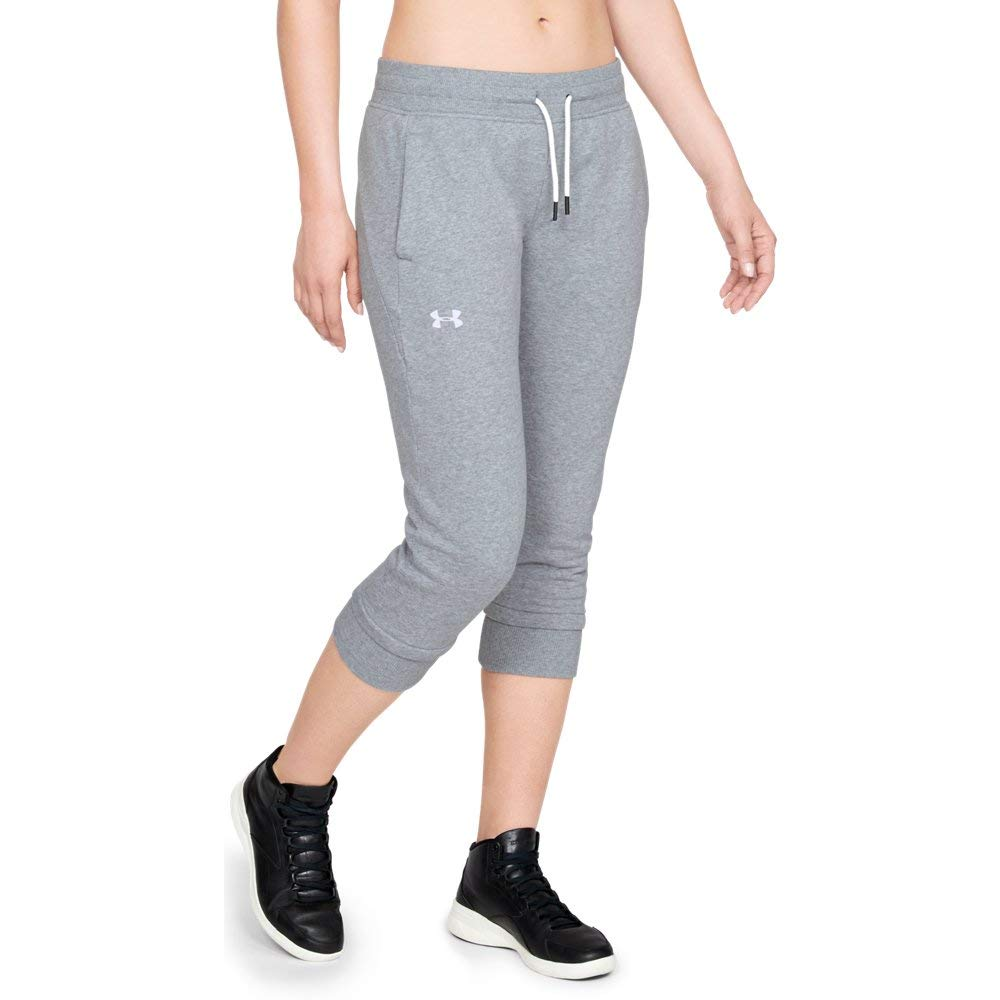 Under Armour Women's Slim Leg Fleece Crop, Steel Light Heather (035)/White, X-Small