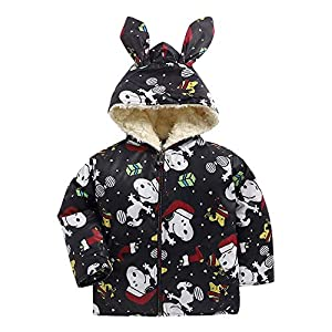 Bold N Elegant Winter Full Sleeve Snoopy Mickey Cartoon Printed Fur Fleece Polyester Hood Jacket Coat for Infant Toddler…