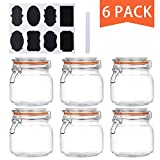 Encheng 25 oz Glass Jars With Airtight Lids And Leak Proof Rubber Gasket,Wide Mouth Mason Jars With Hinged Lids For Kitchen Canisters 750ml, Glass Storage Containers 6 Pack ...