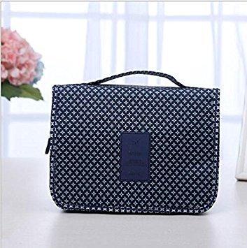 Yosoo Unisex Travel Cosmetic Bag Waterproof Wash Toiletry Storage Case Folding Hanging bag holder ( Color : Blue Flower )