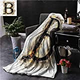 Elxmzwlob Microfiber Blanket Letter B Super Soft Fuzzy Light Weight 40'X60' Language in Flames