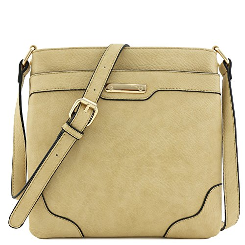 Women's Medium Size Solid Modern Classic Crossbody Bag with Gold Plate (Light Tan)