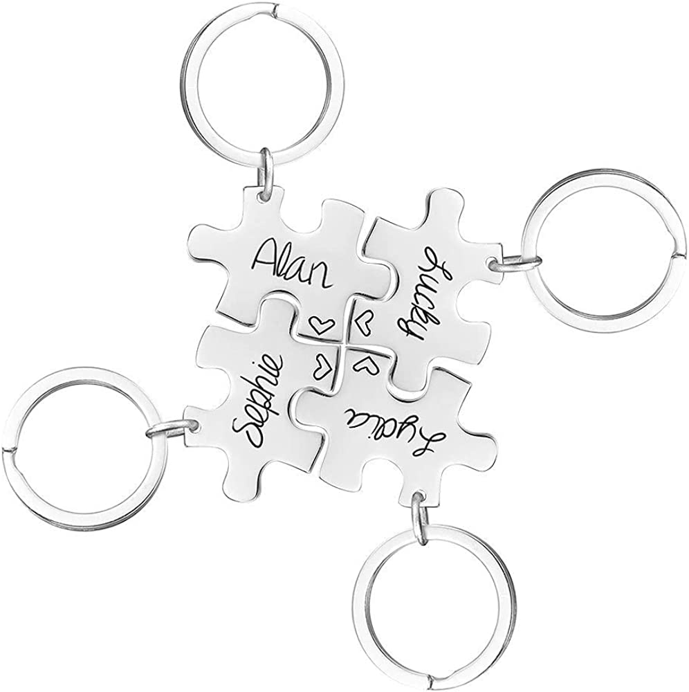 Friends Matching Gifts Puzzle Piece Key Chain Set Personalized Gift Autism Awareness Hand Stamped Kids Names-Anniversary Best Friends