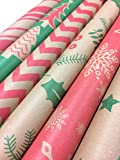 Note Card Cafe Bella Kraft Christmas Wrapping Paper | 6 Pack | 30 x 120 inch Rolls | Classic, Minimalist Designs | Holidays, Christmas, Gifts, Presents, Exchanges, Showers | Recyclable, Biodegradable