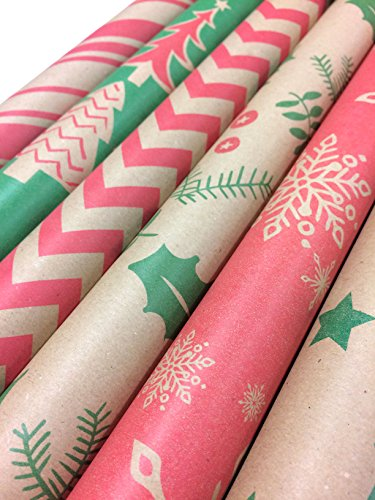 Kraft Classic Christmas Wrapping Paper Set - 6 Rolls - Multiple Patterns - 30
