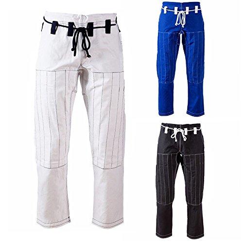 AKRON BJJ Gi Pants Brazilian Jiu Jitsu Gi Martial Arts MMA Grappling Kimono New (White/Blk, (Jiu Jitsu Gi Pants)
