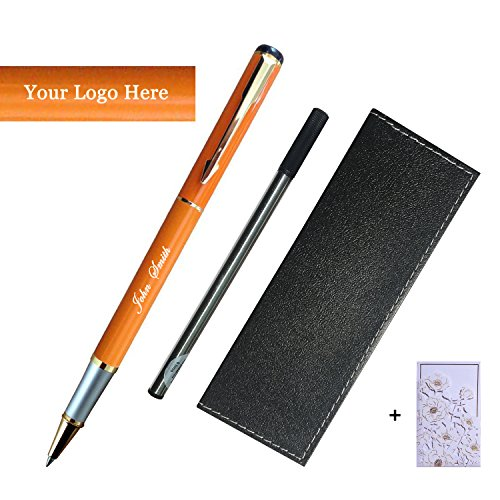 Engraved Roller Ball Pen - Customize Gel Roller Ball Point Pens - Smooth Writing Rolling Pen Gift Set,0.5mm Black Ink Refill (Customizable Orange)