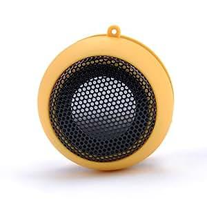 Ocaler Mini Speaker - Altavoz portátil (USB, 3.5 mm, indicador LED), amarillo