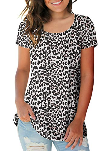 Sousuoty Leopard Printed Tops for Women Spring Tees Plain T Shirts XXL