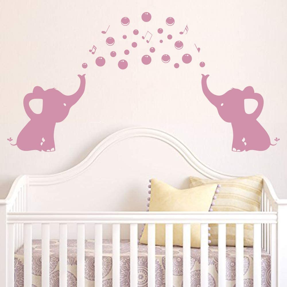 CHRIS Elephant Family Wall Decal Spit Bubbles Wall Decals Nursery Decor Kids Wall Stickers Removable Vinyl Wall Stickers for Baby Kids Boy Girl Bedroom Nursery Decor
