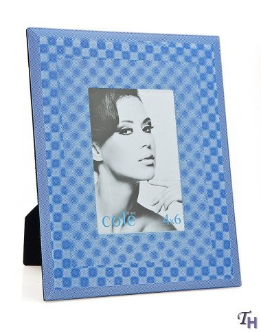 Philip Whitney 4x6 Blue Glass Picture Frame With 3d Square Designs