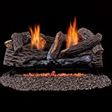 Duluth Forge Ventless Propane Gas Log Set - 24 in. Stacked Red Oak - Manual Control