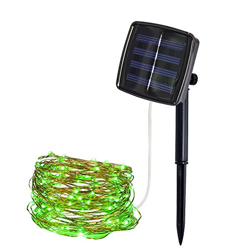 Jessie storee Solar String Lights Copper Wire Light Festival Curtain Lanterns Window Waterproof Color Mixed Decoration Garden Wedding Patio Lawn Fairy Decorative Outdoor (2M 20LED, Green) from Jessie storee-Decoration