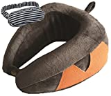 Memory Foam Travel Neck Pillow, Luxury U-Shaped Folding Pillow Perfect Support & Comfort. Best for Airplane Train Office… With Carry-On Bag And FREE Eye Mask From Dipo Globe 100% GUARANTEE!(DARK GREY)
