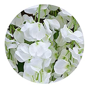 Gooding life 11Pcs Artificial Flower Wisteria Vine 120Cm Flowers DIY Plant Wedding Decoration Wall,White 104