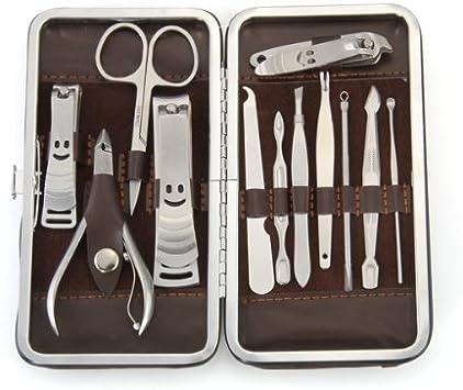 TOOGOO - Set De 12 piezas cortauñas de acero inoxidable para Manicura - Caja Cuero PU: Amazon.es: Salud y cuidado personal