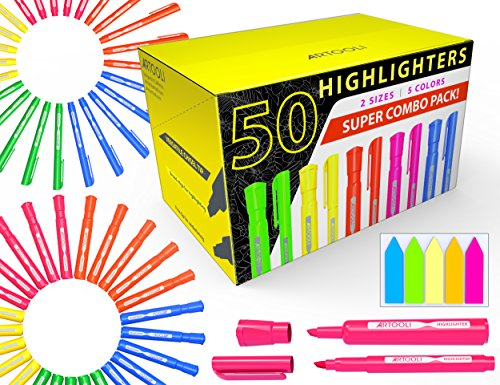 50 Chisel Tip Highlighters Markers Bulk Assorted Colors, Tank and Pen Type Combo, Bonus Sticky Index Tabs, 5 Vivid Fluorescent Colors for Office, School, Home, Students, Teachers, Bible Study by ARTOOLI