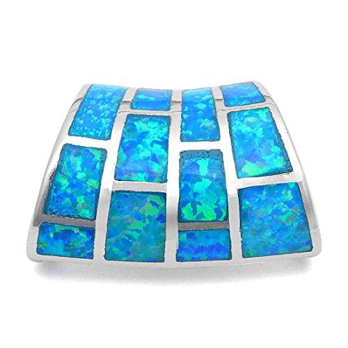 - Inlay Curvy Charm Pendant Irregular Shape Created Blue Opal 925 Sterling Silver