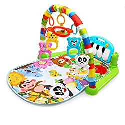 Features ♪ Soft padding protects your baby from hard floors.♪ Colorful animal patterns to attract baby.♪ Exercise hand-eye coordination, grip, arm movement accuracy.♪ The pendant hanging on the frame will rustle and exercise your baby's hearing.♪ Jus...
