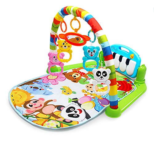 (YUIOP Baby Kick 'n Play Piano Gym, Infants Newborn Mat with 2 Modes Kick Piano, Mirror, 4 Rattle Toys Kids 0-36 Month Baby Interactive Lights and Sounds Fitness Fun Piano)