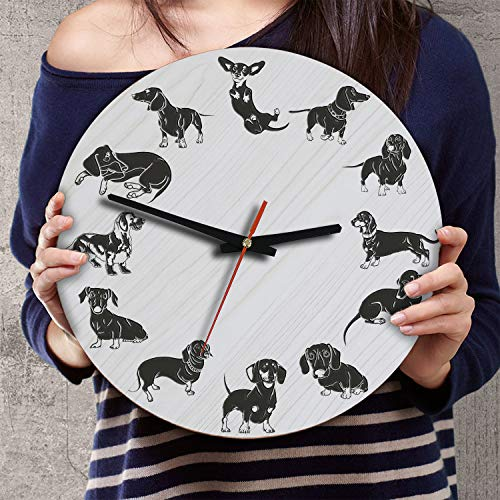 VTH Global 12 Inch Silent Battery Operated Dachshund Dog Wood Wall Clocks Wiener Gifts for Dad Mom Pet ()