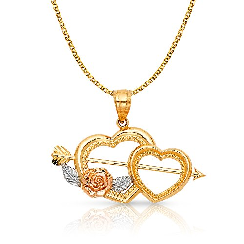 14K Two Tone Gold Double Heart With Cupid Arrow Charm Pendant with 1.5mm Flat Open Wheat Chain Necklace - 16