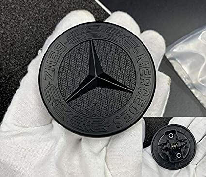 57MM Chrome Black Mercedes Benz Hood Emblem Flat Emblem for Mercedes Benz C E SL Class Replacement